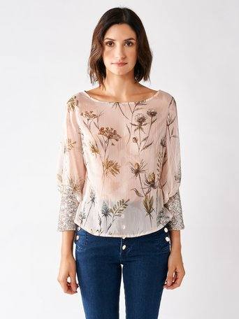 Blouse with Flowers with Precious Sleeves var. Pink - CFC0017186002B476