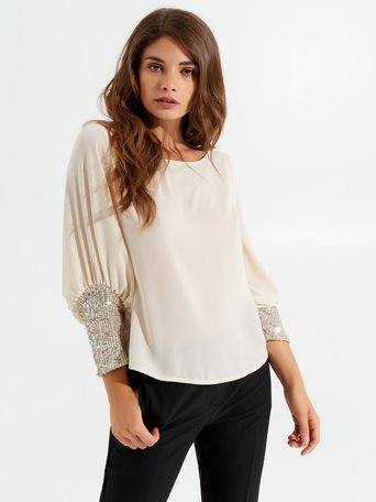 Blouse with sequined sleeves Ecru - CFC0017170002B039