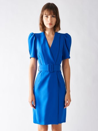 Kurzes Kreuz Kleid China-Blau - CFC0096920003B055
