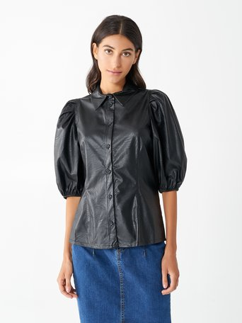 Leatherette Shirt with Balloon Sleeves Black - CFC0096956003B001