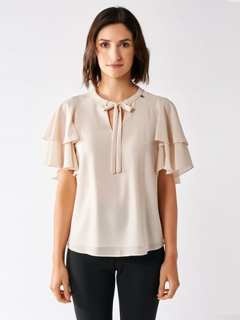 Blouse with Flounced Sleeves Beige - CFC0097359003B101