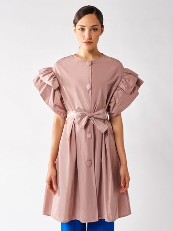 Short-sleeved Trench with Rouches Rosa Cipria - CFC0096937003B385
