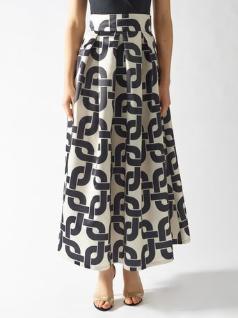 Long Skirt with Geometric Print var black - CFC0096914003B473