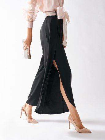 Palazzo Trousers with Slits Black - CFC0097052003B001