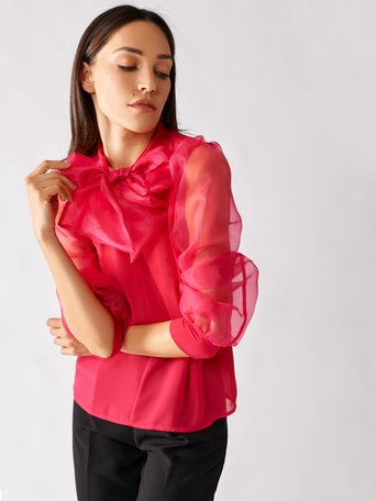Organza Blouse with Bow fuxia - CFC0096954003B238