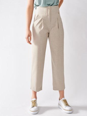 High-waisted Viscose Trousers Beige - CFC0097117003B101