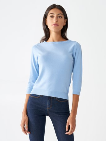 Viscose Sweater with 3/4 Sleeves Sky Blue - CFM0009622003B075