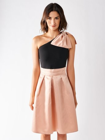 Short One-Shoulder Dress with Bow var. Pink - CFC0097158003B476