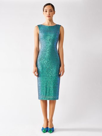Sequined Embroidered Dress Green - CFC0097204003B141