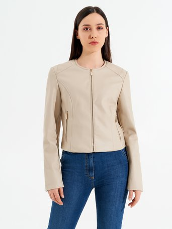 Faux Leather Jacket Sand - CFC0095538003B115