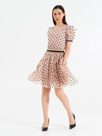 Short Polka dot Tulle Dress Pink - CFC0098030003B221