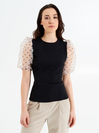 Blouse with Short Organza Sleeves Black var Beige - CFC0017265002B006