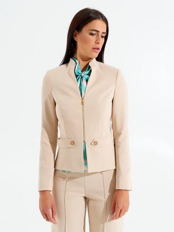 Shaped Jacket with Branded Zip Sand - CFC0098410003B115
