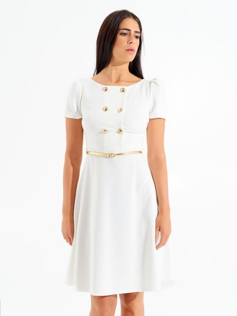 Short Double-breasted Slightly Flared Dress White - CFC0098391003B021