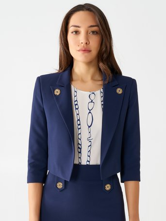 Short Jacket with Gold-coloured Buttons Blue - CFC0098396003B041