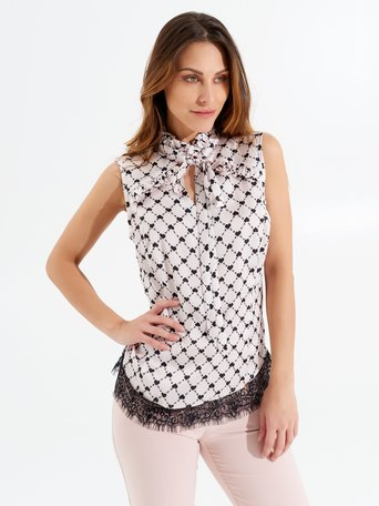 Sleeveless Blouse with Heart Print var black - CFC0098123003B473