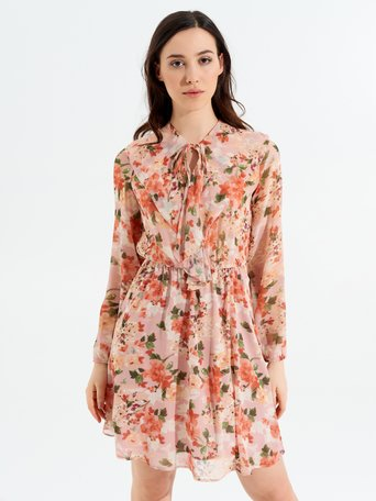 Short Floral Georgette Dress var. Pink - CFC0097966003B476