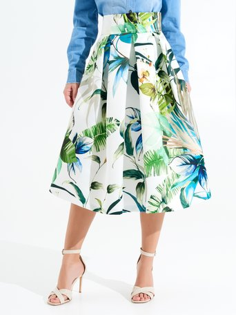 Midi Full-circle Skirt, Tropical Print. var green - CFC0097997003B492