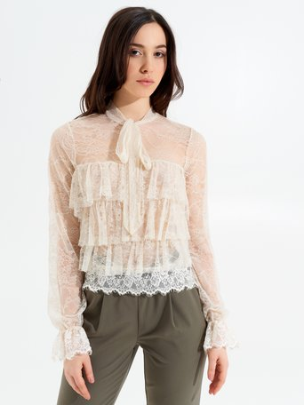 Blouse with Ruffles Beige - CFC0098147003B101