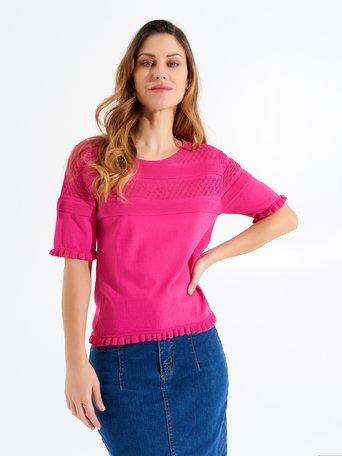 Openwork Sweater fuxia - CFM0009697003B238