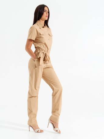 Short-sleeved Jumpsuit Camel Beige - CFC0098110003B117