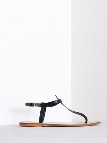 Leather Flip Flop Sandals Black - CAL0006140003B001