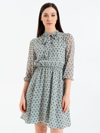 Short Printed Dress with Bow Collar var green mint - CFC0098169003B489