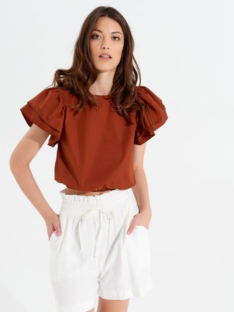 Cropped-Top mit Rüschen Rost Orange - CFC0017348002B372