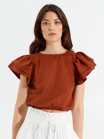 Top Cropped con Rouches Ruggine Arancione - CFC0017348002B372