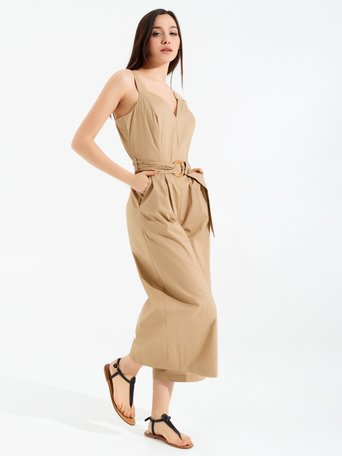 Cropped Cotton Jumpsuit Beige - CFC0098973003B101