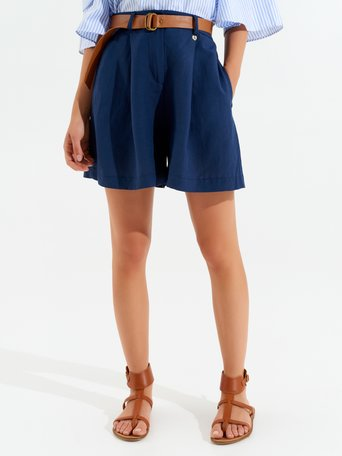 Wide Linen Blend Shorts Blue - CFC0098998003B041