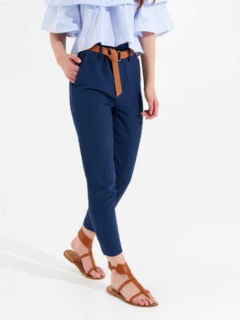 Linen Blend Trousers Blue - CFC0098999003B041