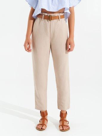 Pantalon en Lin Mélangé Beige - CFC0098999003B101