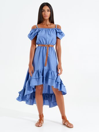 Long Asymmetrical Off-Shoulder Dress Sky Blue - CFC0098861003B075