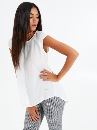 Sleeveless Viscose Blouse White - CFC0099077003B021