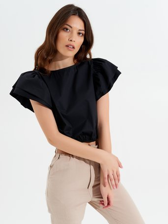 Top Cropped à Ruches Noir - CFC0017348002B001