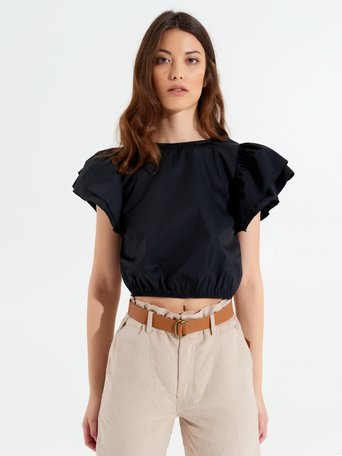 Cropped Top with Ruffles Black - CFC0017348002B001