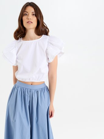 Top Cropped con Ruches Optical blanco - CFC0017348002B035