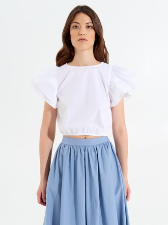 Cropped Top with Ruffles Optical white - CFC0017348002B035
