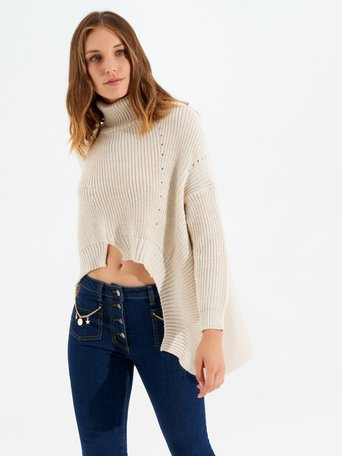 High-neck asymmetric wool-blend jumper White Cream - CFM0009824003B036