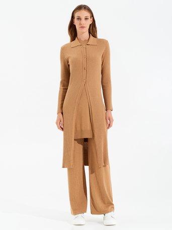 Maxi cardigan in viscose Camel Beige - CFM0009801003B117