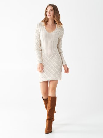 Knitted dress White Cream - CFM0009767003B036