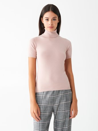 Short-sleeved polo neck top Pink - CFM0009748003B221