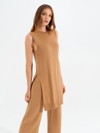 Camiseta sin mangas de viscosa de estilo oversize Camello Beige - CFM0009816003B117