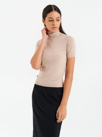 Short-sleeved polo neck top Beige - CFM0009748003B101