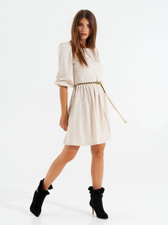 Short dress with puff sleeves White Wool - CFC0099453003B037