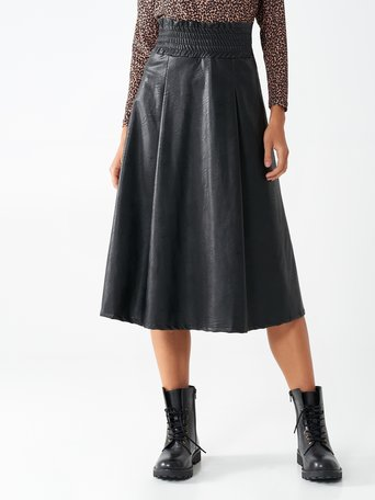 Faux leather midi skirt Black - CFC0017409002B001