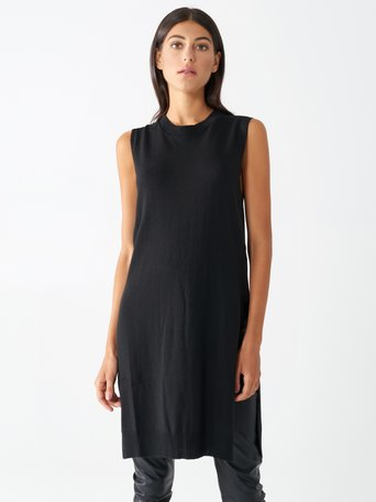 Camiseta sin mangas de viscosa de estilo oversize Negro - CFM0009816003B001