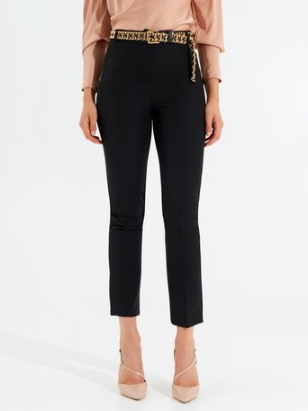 Skinny trousers with jewel belt Black - CFC0099454003B001