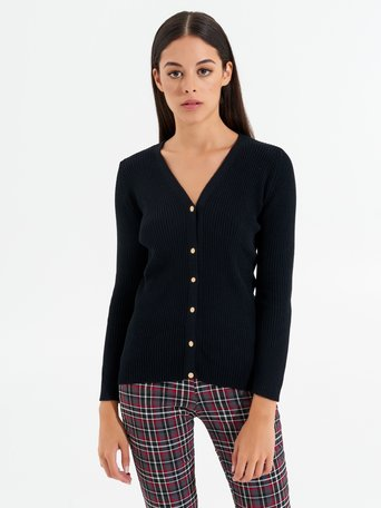 Viscose cardigan jumper with buttons Black - CFM0009857003B001